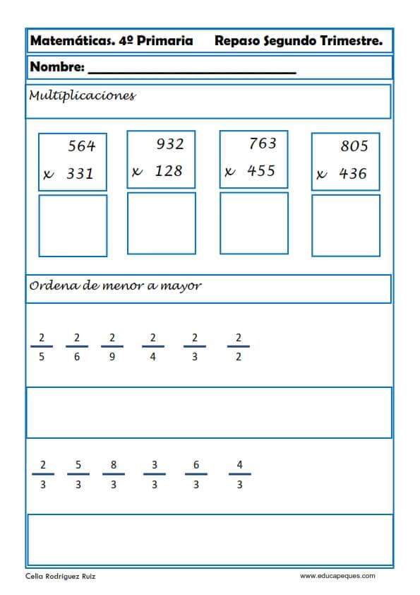 Best ejercicios de cuarto de primaria de matematicas for Cuarto primaria