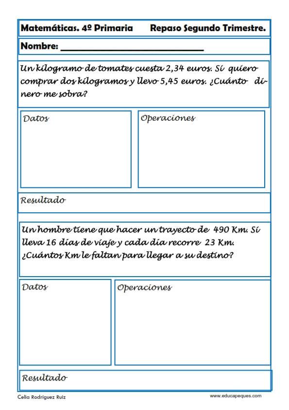 ejercicios matemáticas cuarto primaria 17