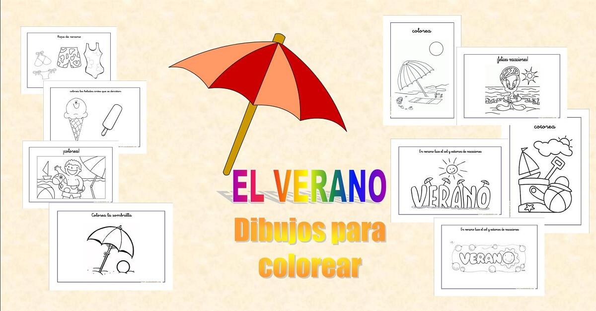 El verano, dibujos para colorear