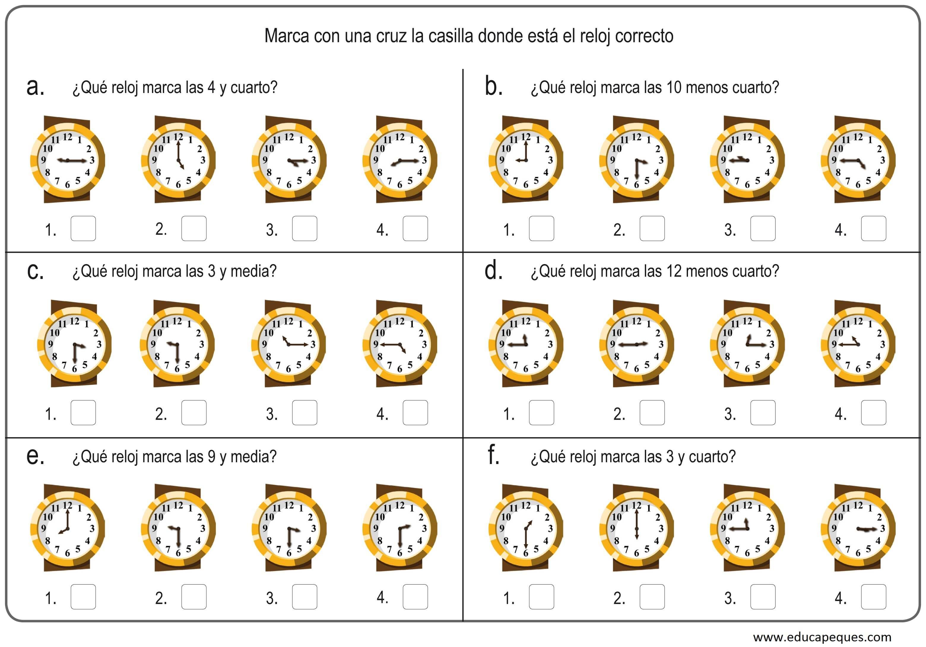 Las horas. Fichas para trabajar las horas del reloj analógico y digital