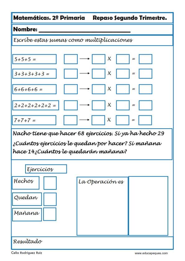 Ficha de Repaso de Matemáticas para Primaria - Didactalia: material ...