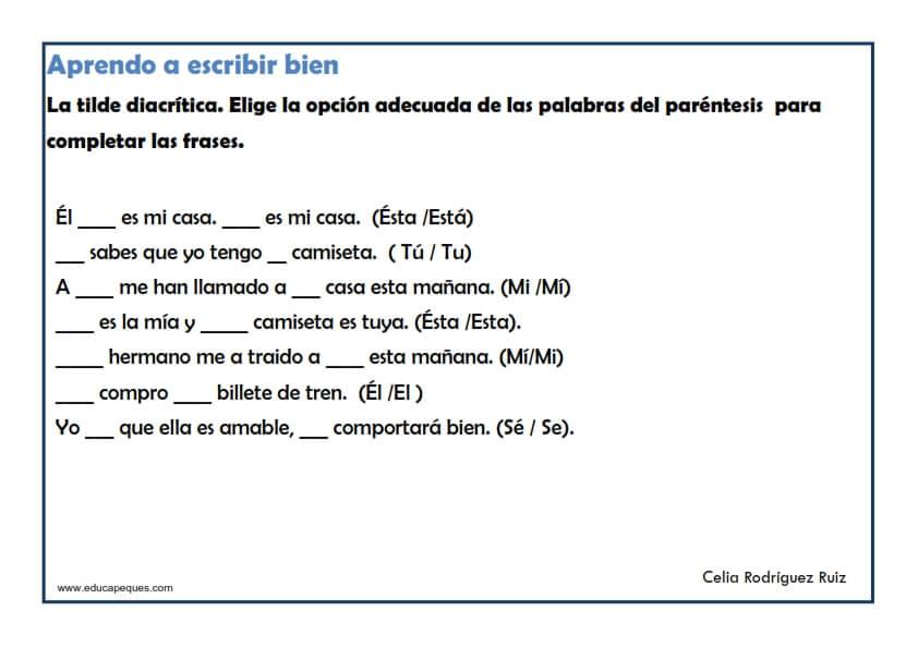 Los acentos ▷ 20 ejercicios de Primaria para trabajar ortografía