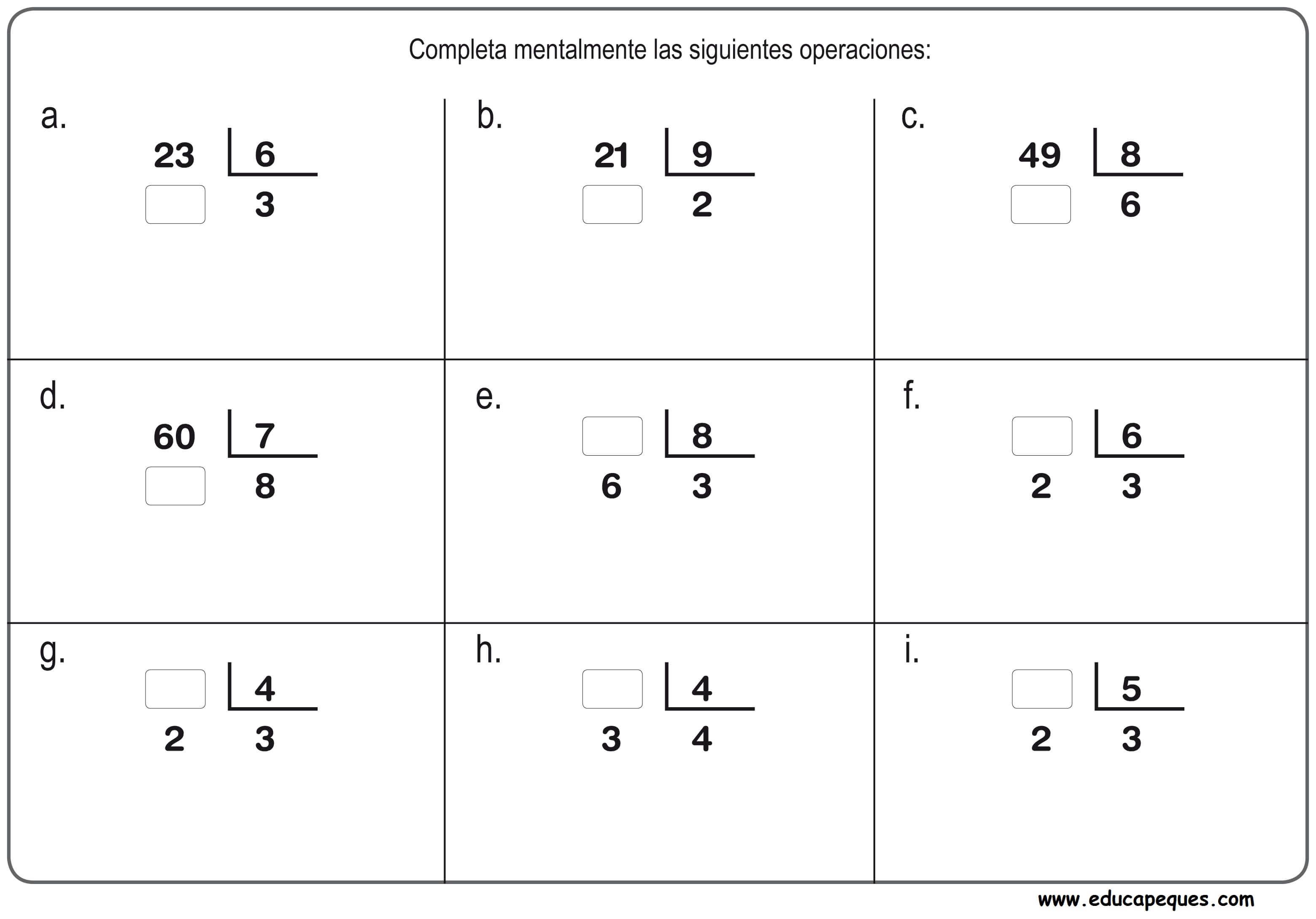 Descarga gratis ejercicios de divisiones para niños de primaria