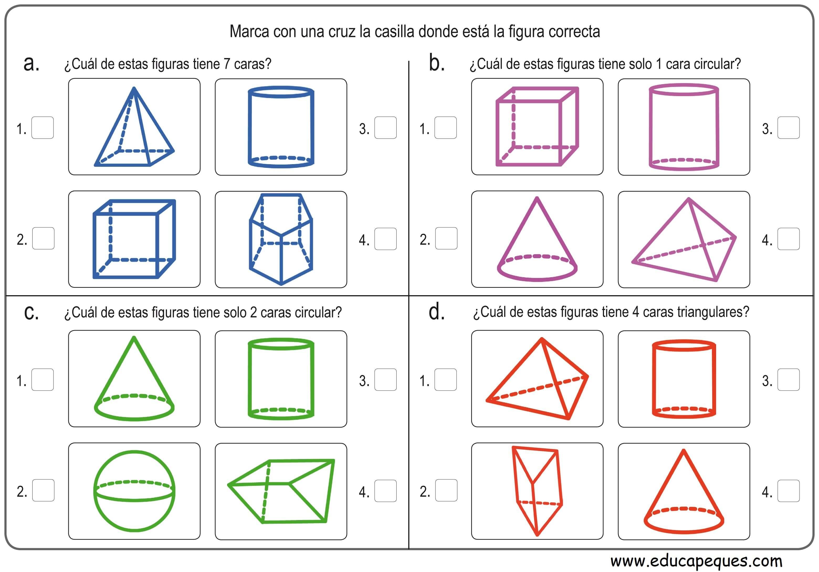 12 fichas con ejercicios figuras geom tricas primaria for Las formas geometricas