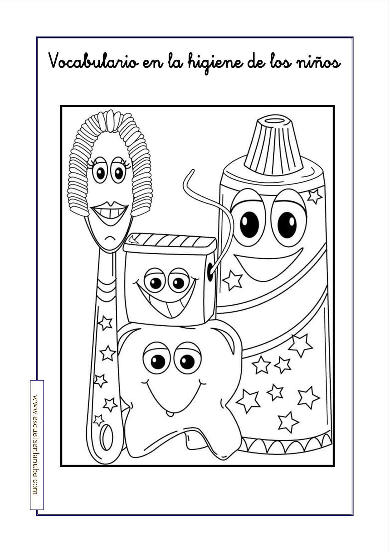 Higiene infantil. Fichas para aprender y colorear