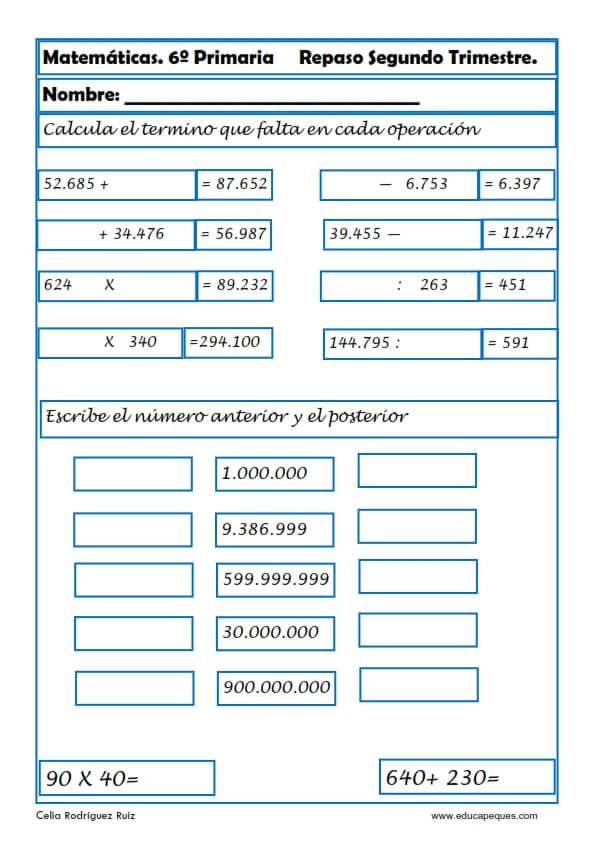 30 Fichas De Matematicas Para Sexto De Primaria