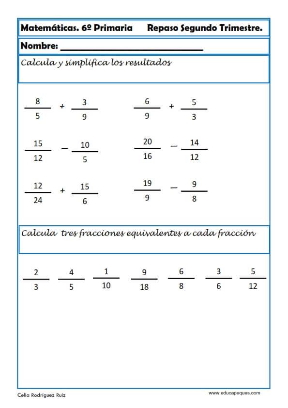 30 fichas de Matemáticas para Sexto de Primaria