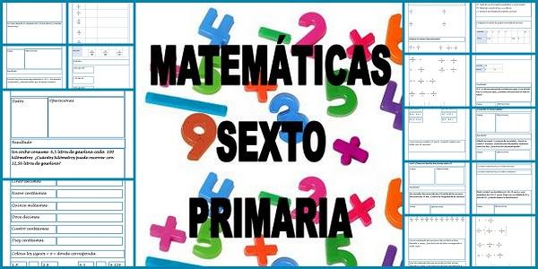 fichas matemáticas sexto primaria