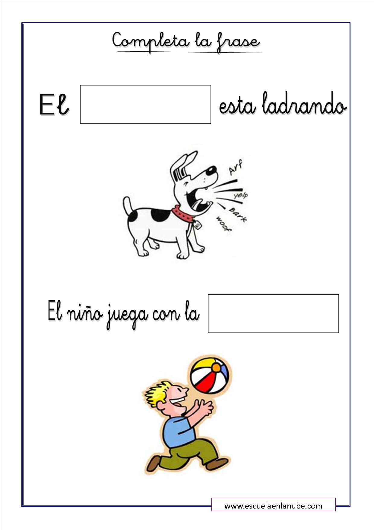 Ejercicios De Lengua Para Infantil Completa Y Ordena Las Frases