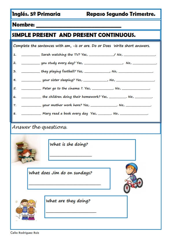 Ejercicios Inglés primaria.Fichas para niños/as de 11-12 años