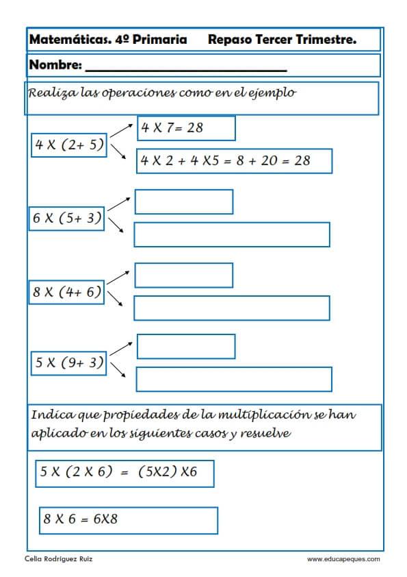 Emejing Ejercicios De Matematicas Para Cuarto De Primaria Para ...