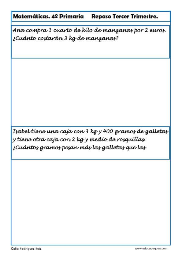 Fichas de Matemáticas Cuarto Primaria