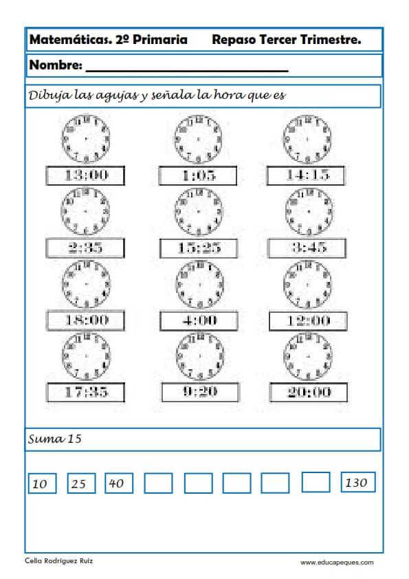 Segundo Primaria Ejercicios De Matemáticas Educapeques