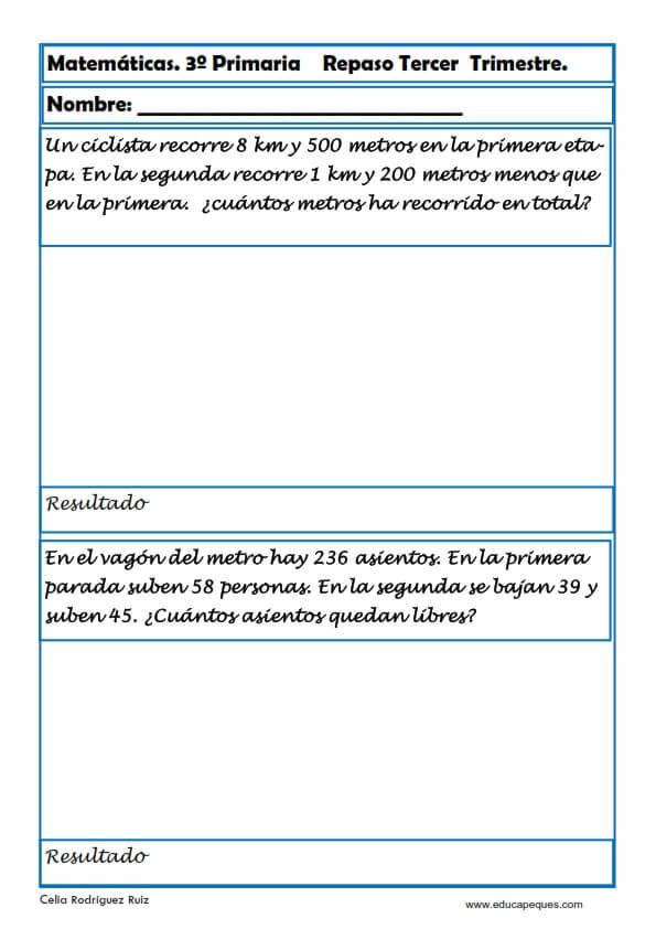 Matematicas Tercero Primaria Fichas Educapeques