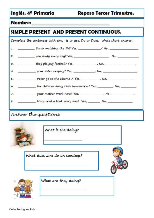 Fichas inglés cuarto primaria. Niños de 9-10 años