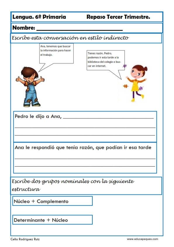 Ejercicios de Lengua para Sexto de Primaria. Niños 12-12 años