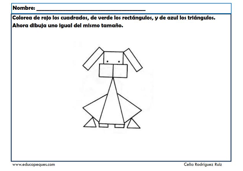 Las formas geométricas. Fichas infantil