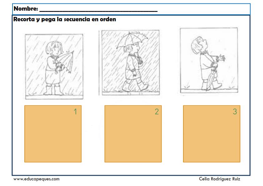 Fichas de infantil: Conceptos espaciales y temporales