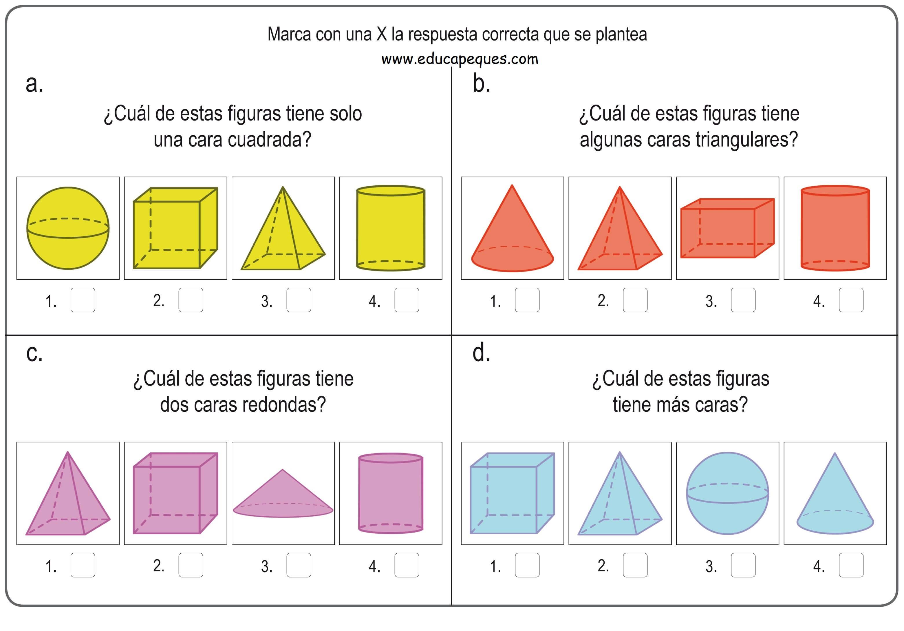 Formas Y Figuras Geométricas Tridimensionales Para Niños De