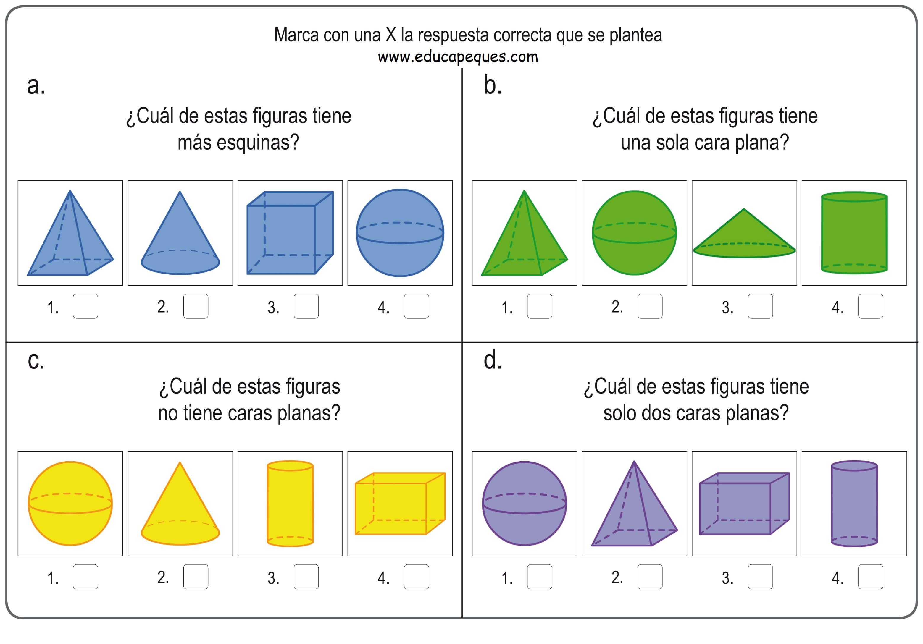 Formas y figuras geométricas tridimensionales para niños de primaria