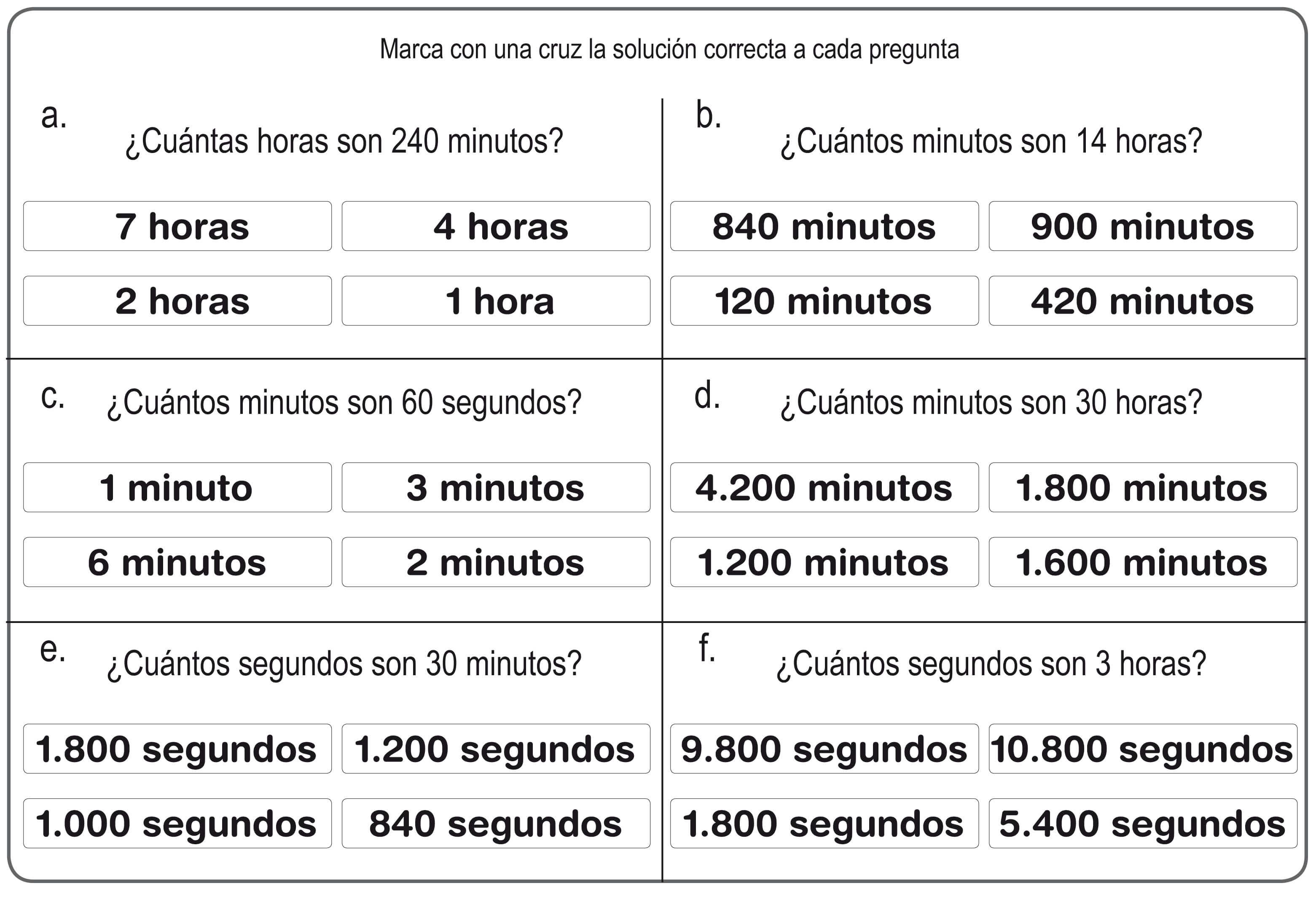 Matemáticas Primaria: Problemas de horas