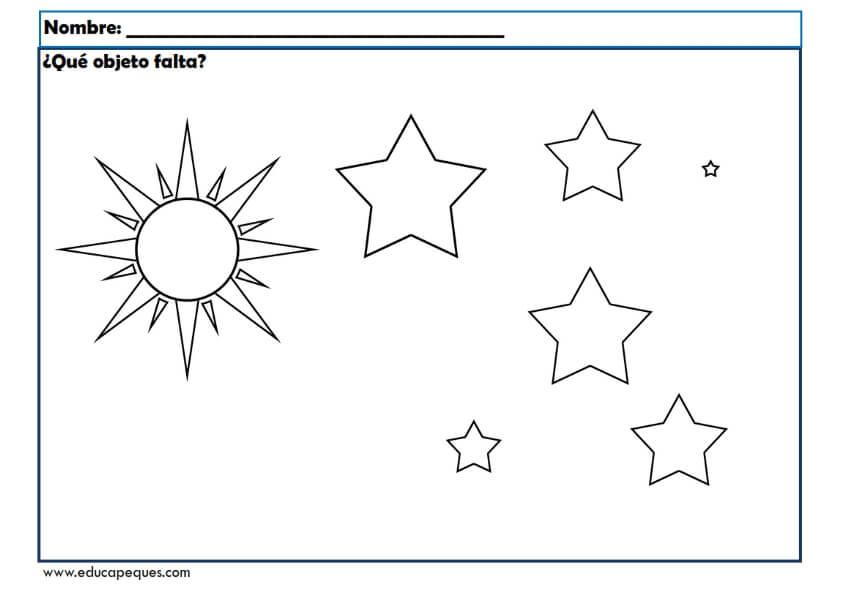 Fichas para estimular la memoria en niños y niñas infantil