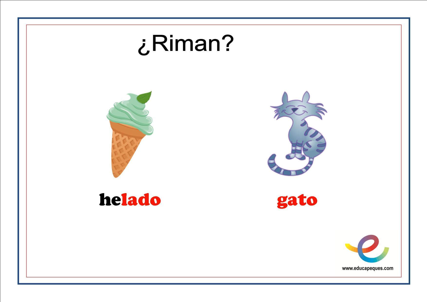 Fichas de lenguaje para primaria: ¿Qué rima con?
