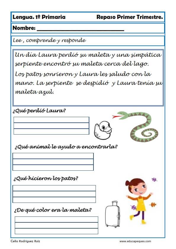 Comprension De Textos Para Niños De Primero De Primaria