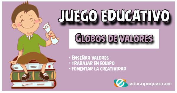 Juego De Valores Para Niños El Globo De Los Valores