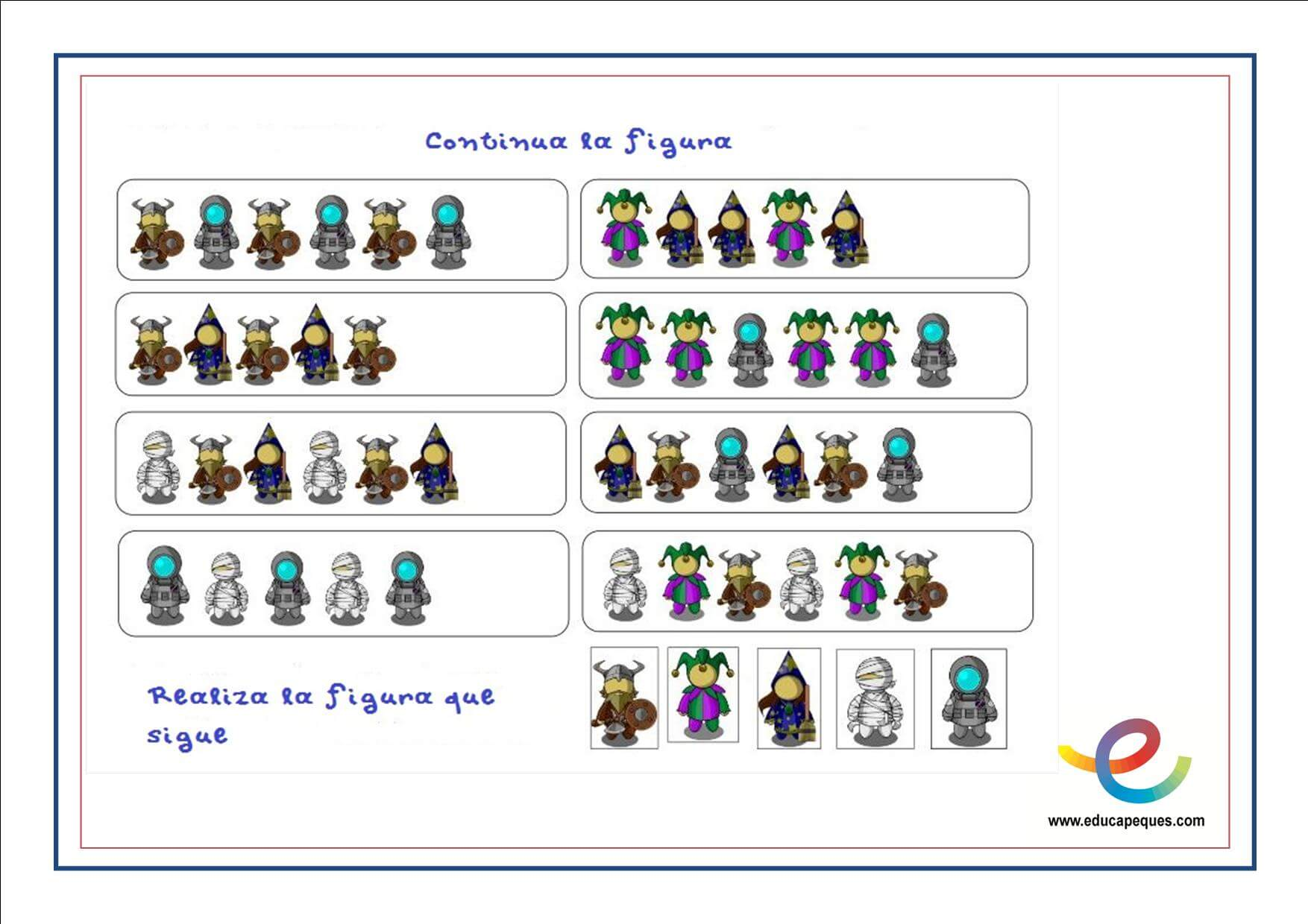Ficha ejercicios de razonamiento abstracto para niños