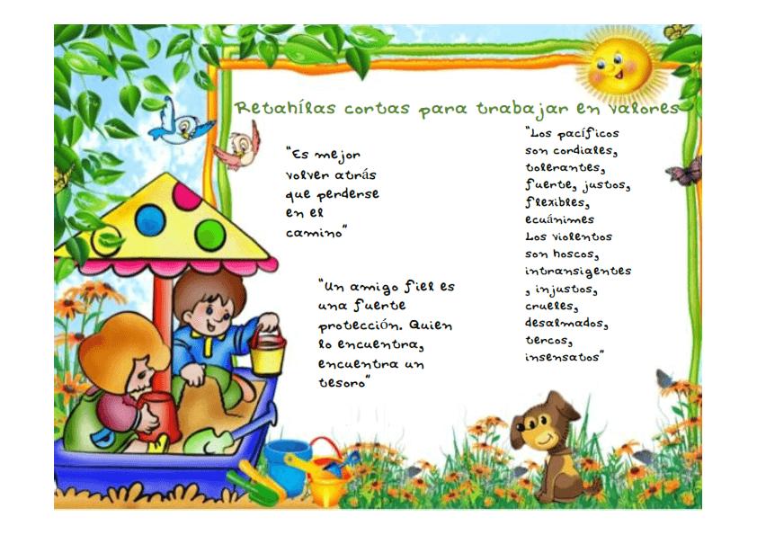 Las retah las y sus usos educativos for Actividades para jardin de infantes para imprimir