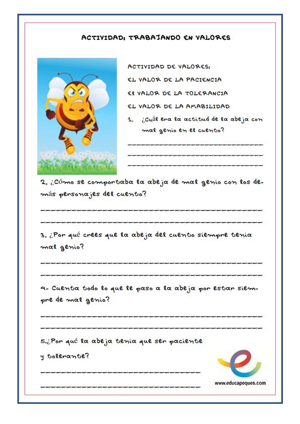 cuento infantil ficha comprensión lectora