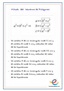 ejercicios teoremas de pitagoras