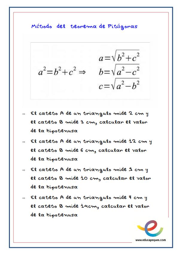 teorema de pitágoras, matemáticas, pitágoras, fichas primaria, ejercicios matemáticas