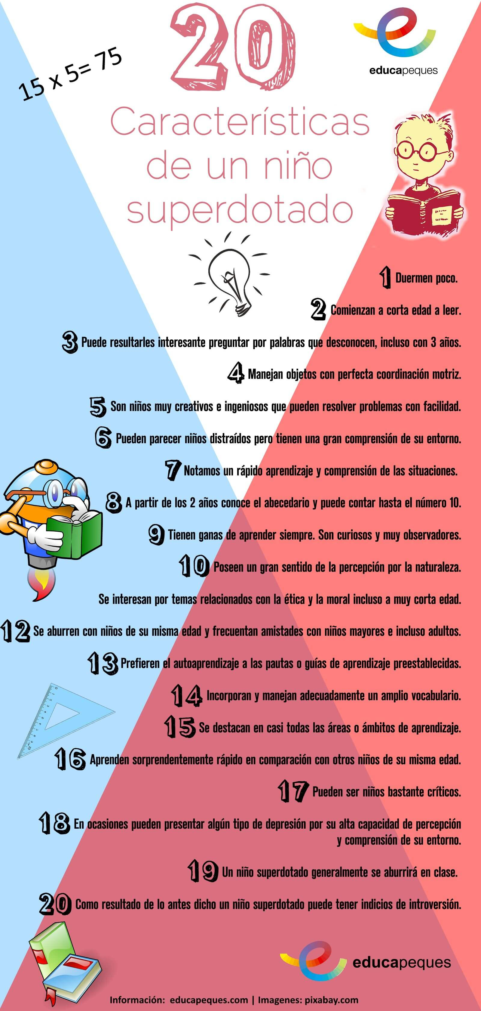 Infografia 20 caracteristicas nino superdotado