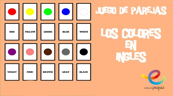 colores en ingles, colors, juego de memoria, juego de parejas
