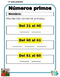 fichas números primos primaria