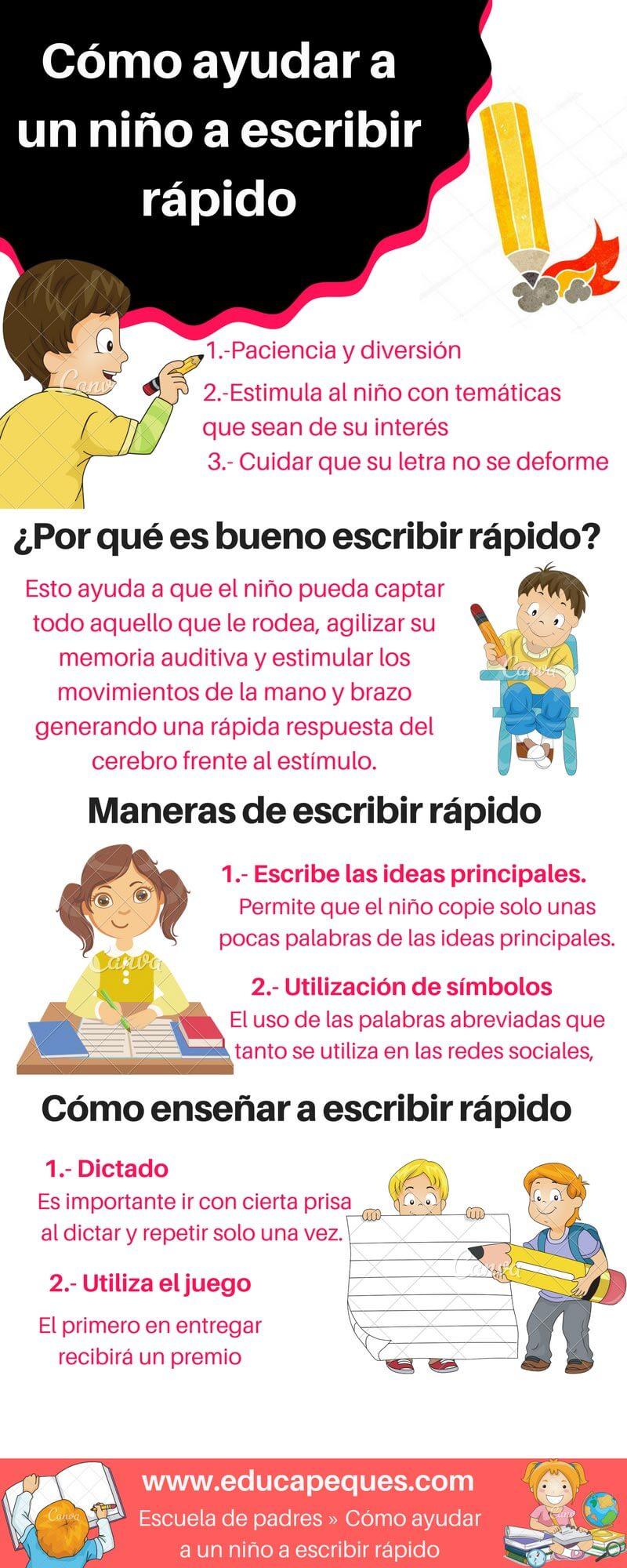 Cómo ayudar a un niño a escribir rápido | Portal Educapeques