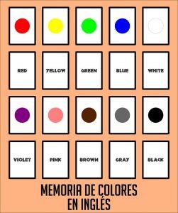 colores en ingles, colours, juego de memoria, juego de parejas