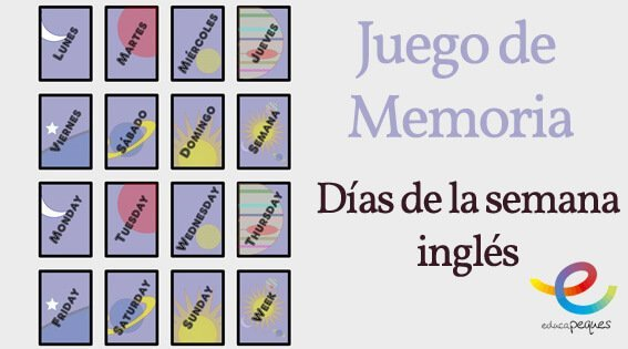 Juego De Memoria Dias De La Semana En Ingles