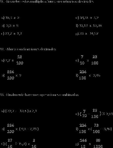 Números decimales. Sumas, restas y multiplicación de números decimales
