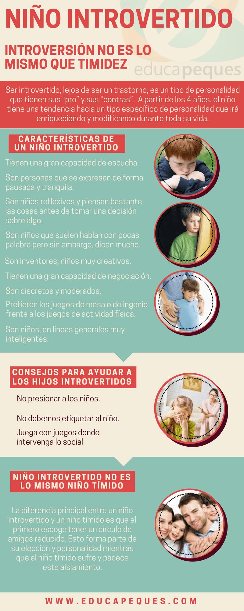 infografía niño introvertido