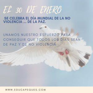 Día De La Paz Y La No Violencia 30 De Enero Día De La Paz